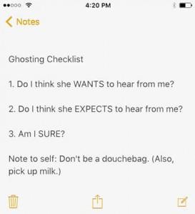 Ghosting Checklist