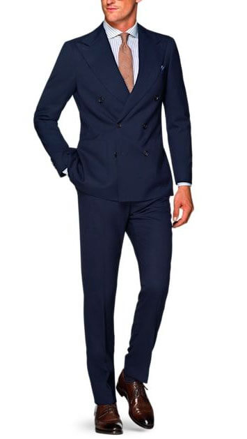 Wearing a Blue Suit with Brown Shoes