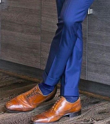 Blue Suit Brown Shoes