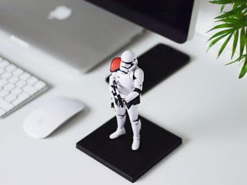 Stormtrooper toy on desk