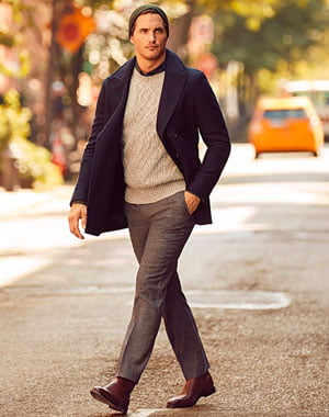 Man wearing J.Crew peacoat and sweater