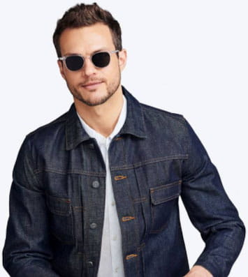 Man wearing Warby Parker sunglasses and denim jacket