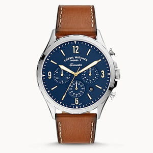 Blue men's watch with brown strap