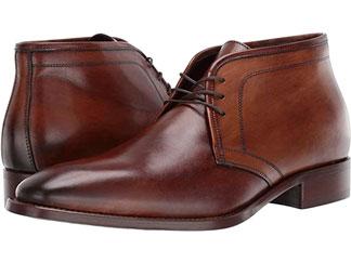 Brown leather chukkas