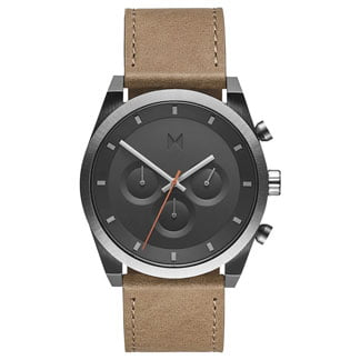 MVMT chronograph with brown strap and black face