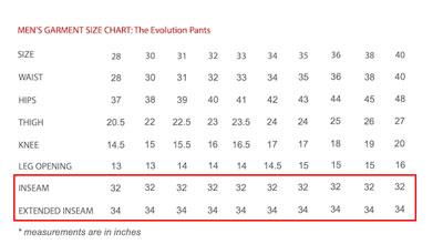 Western Rise pants size chart