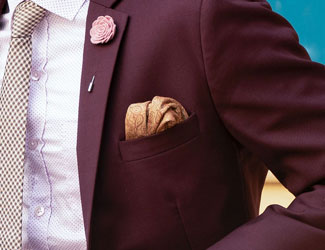 Man wearing orange pocket square rolled in pocket