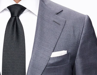 Grey suit, black tie, white pocket square