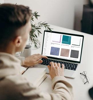 Man shopping for pocket squares online