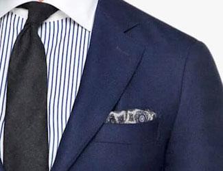 Blue suit, black tie and pocket square