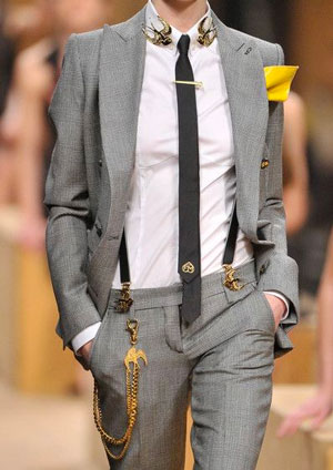 Fashion model wearing various mens accessories