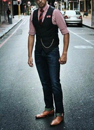A stylish man wearing a pocket watch in the street