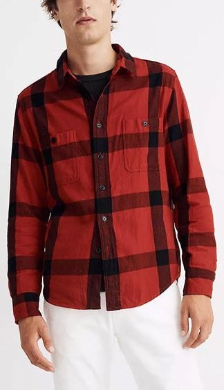 Madewell red and black Buffalo plaid shirt