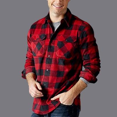 Man wearing buffalo plaid shirt