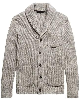 Grey shawl collar cardigan sweater