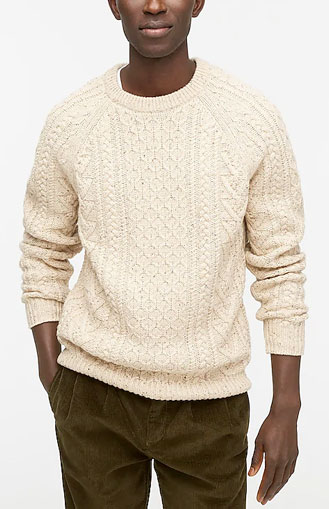 J.Crew white cable knit sweater