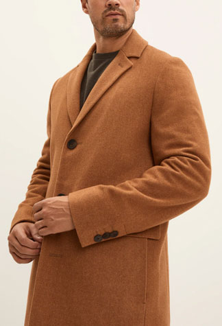 Camel top coat from Frank and Oak
