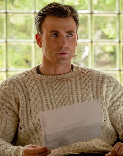 Chris Evans wearing white cable knit sweater in movie Knives Out