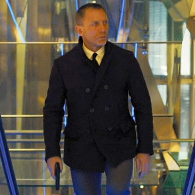 Daniel Craig wearing the Billy Reid peacoat in Skyfall