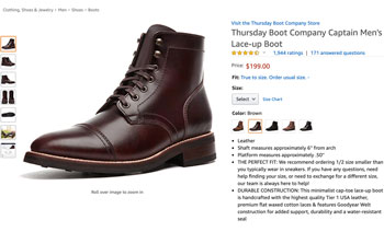 Amazon screenshot of the Thursday Boot Company's Captain boots