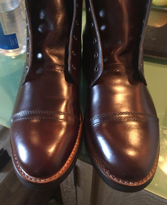 An Amazon reviewer's shot of Thursday Boot Company's Captain boots in person