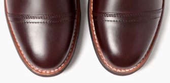 Overhead shot of the toes of the Thursday Boot Company's Captain boots