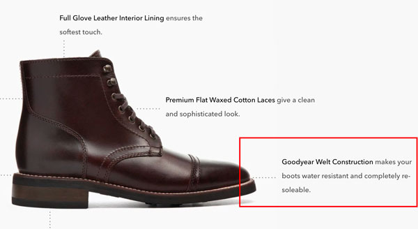 Screenshot from the Thursday Boot Company's website highlighting the Goodyear Welt Construction