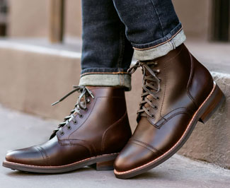 Thursday Boot Company's Captain boots with rolled up jeans