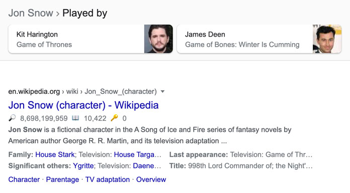 Screenshot of search results for Jon Snow