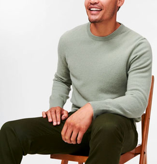 The Naadam Cashmere Essential Sweater in light green