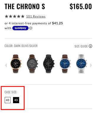 Screenshot of Case Size on the Vincero Watch website
