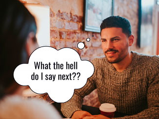 Man thinks about how to keep a conversation going