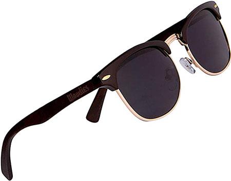 Woodies Half Rim Ebony Wood Sunglasses