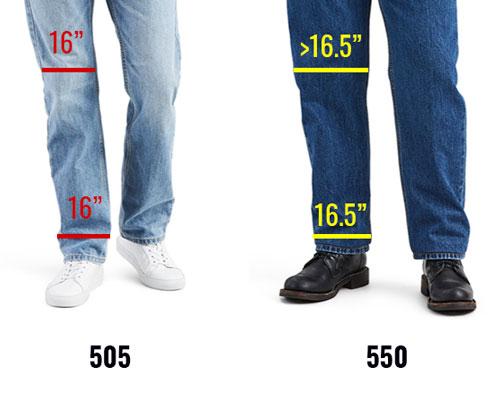 Levis 505 vs 550 leg opening