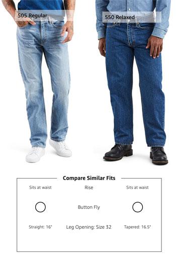 Levis 550 and 505 jeans fit comparison