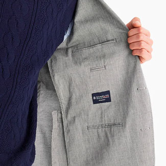 The inside of an unlined linen jacket