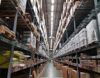 An imposing Ikea warehouse aisle
