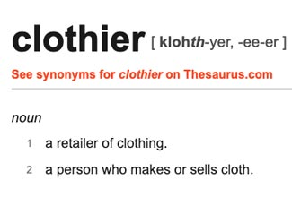 The definition of professional clothier